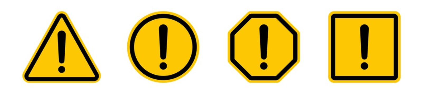 Set of warning, caution, attention icon sign, exclamation mark of warning alert icon