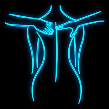 Bright luminous blue neon sign for a massage parlor is a beautiful brilliant beauty spa with a woman who is doing masses on a black background. illustration