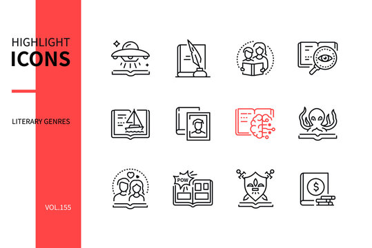 Literary genres - line design style icons set