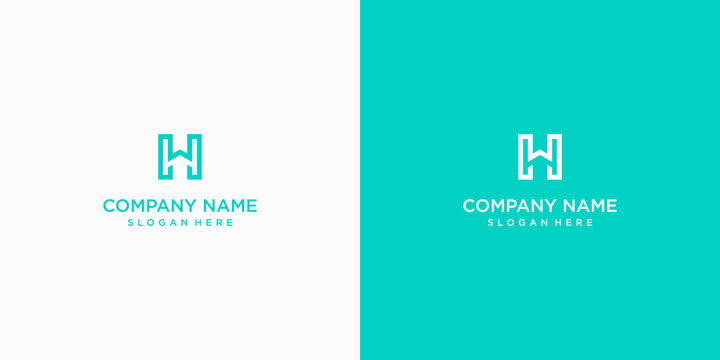 hw letter vector logo abstract template