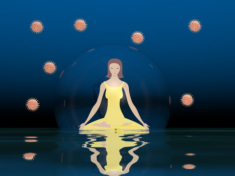 Woman meditating in a bubble to protect from corona covid virus by deep night - 3D render