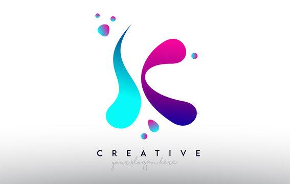 K Letter Design Logo. Rainbow Bubble Gum Letter Colors with Dots and Fluid Colorful Creative Shapes