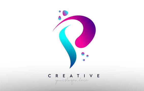 P Letter Design Logo. Rainbow Bubble Gum Letter Colors with Dots and Fluid Colorful Creative Shapes
