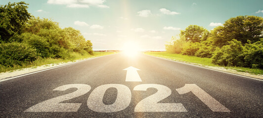 Happy New Year Background. Road to 2021.