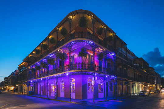 The famous Bourbon street balconies in New Orleans without people