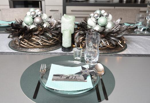weihnachtsdekoration in der küche