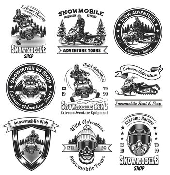 Vintage badges for snowmobile shop vector illustration set. Monochrome labels with skull and person on snowmobile. Extreme and winter sport concept can be used for retro template