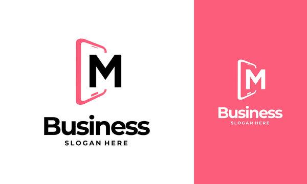 M-Initial Phone Logo designs, Phone Shop logo designs, Modern Phone logo designs vector icon