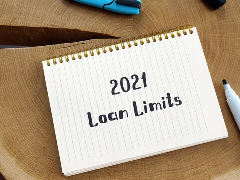 Financial concept meaning 2021 Loan Limits with phrase on the piece of paper.