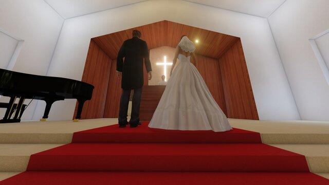 教会 結婚式 バージンロード歩く イラスト10