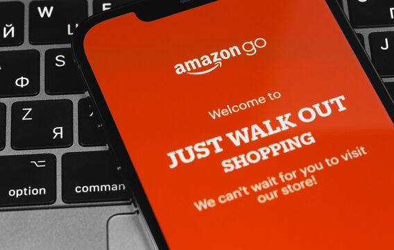 Amazon Go service icon app on the screen smartphone closeup. Amazon Go is a chain of stores in the United States. Moscow, Russia - November 28, 2020