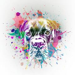 dog with splashes on white background