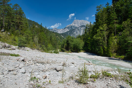 On the banks of the Johnsbach in the Gesäuse National Park in Austria