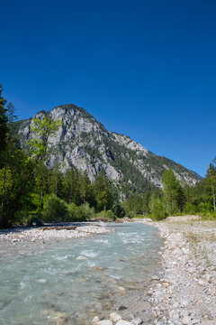 On the banks of the creek Johnsbach in the Gesäuse National Park in  Austria