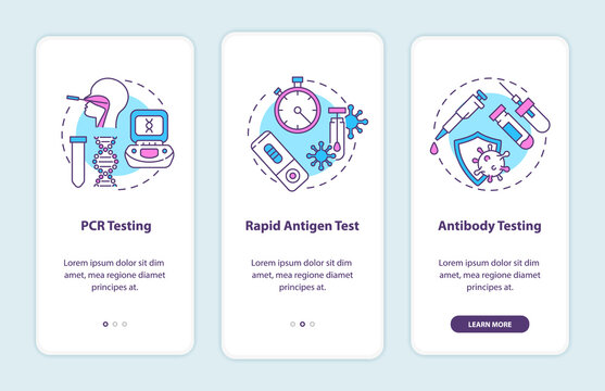 Covid testing types onboarding mobile app page screen with concepts