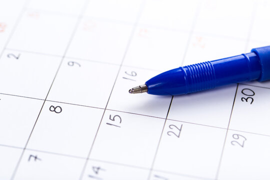 white calendar page for 2021 month schedule to make an appointment or manage the schedule every day with ballpoint pen for marks