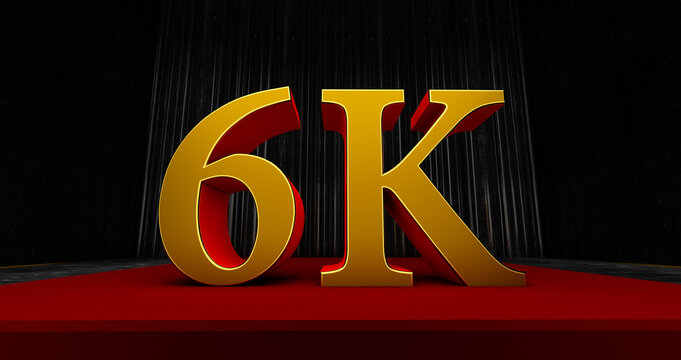 golden 6k or 6000 thank you, Web user Thank you celebrate of subscribers or followers and likes, 3D render