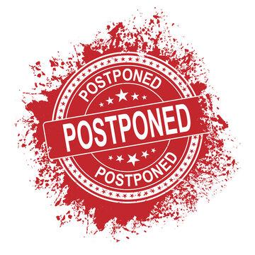 Postponed rubber vector stamp illustration isolated on white background. Postponed rubber vector stamp. Round old postponed ink imprint.