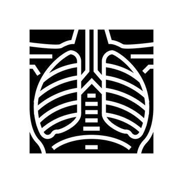 lungs x-ray glyph icon vector. lungs x-ray sign. isolated contour symbol black illustration