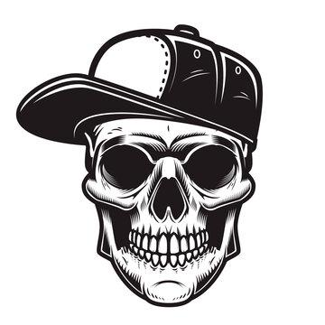 Illustration of skull in baseball cap in engraving style. Design element for logo, emblem, sign, poster, card, banner.