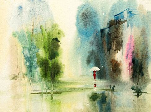 Beautiful watercolour image of a woman walking alone in a rain soaked city street with trees and buildings on side of the road,