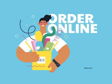 Discounts, sale, promotion - online shopping- modern flat vector concept illustration of a young man holding a box full of goods. Delivery and online orders concept. Order online call