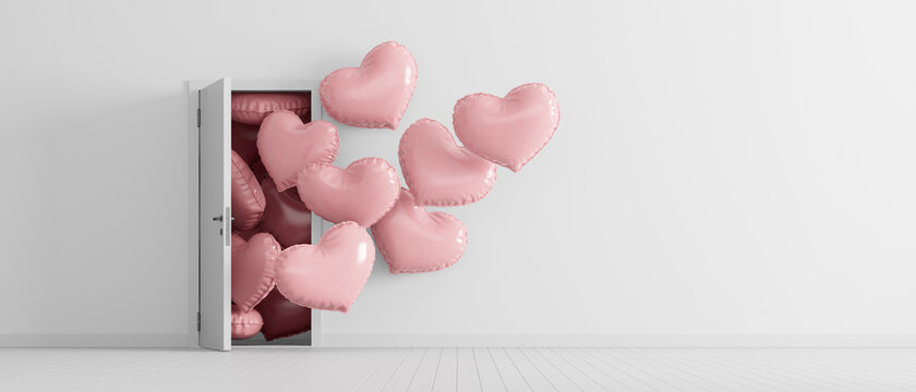 Heart shaped balloons come out from the door in white room with copy space. Valentines day concept 3d render 3d illustration