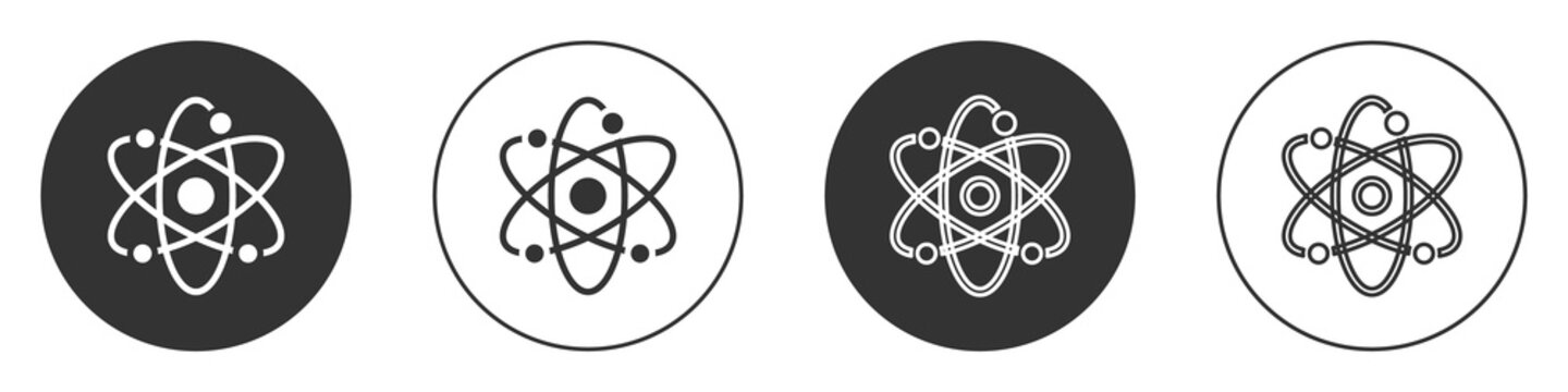 Black Atom icon isolated on white background. Symbol of science, education, nuclear physics, scientific research. Circle button. Vector.