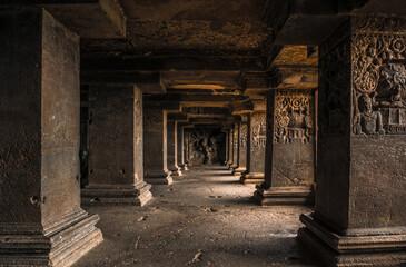 The pillars in Ellora caves near Aurangabad, Maharashtra state in India