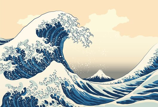The great wave off kanagawa painting reproduction vector illustration. Old Japanese artwork with big wave and mountain Fuji on the background.