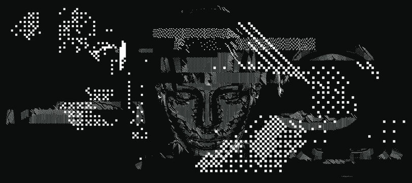 Android head made of pixels and particles. Artificial Intelligence, Neural network and futuristic technology concept.