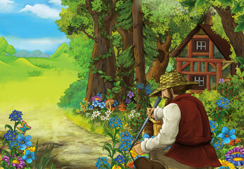 cartoon scene with farmer in the forest near the wooden farm