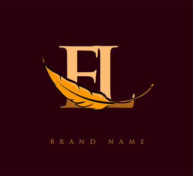 Initial letter FL logo with Feather Company Name, Simple and Clean Design. Vector Logo for Business and Company
