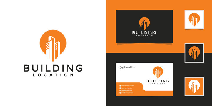 building and pin location logo design template and business card