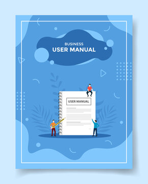 business user manual concept people around user manual book reading for template of banners, flyer, books cover, magazines with liquid shape style