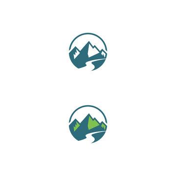 duo montain logo design vector icons