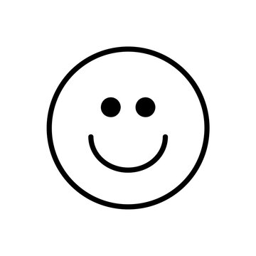 Happy smile icon. Outline pictogram isolated on white