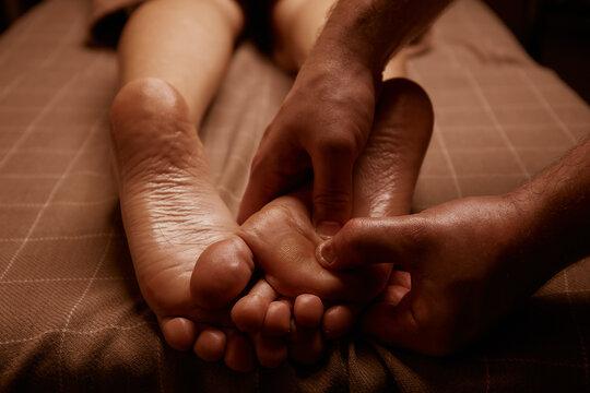 Foot massage. Spa saloon. Massage. SPA therapy