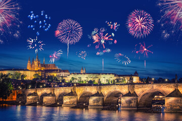 Fireworks in Prague (Czech Republic) during New Year's celebration