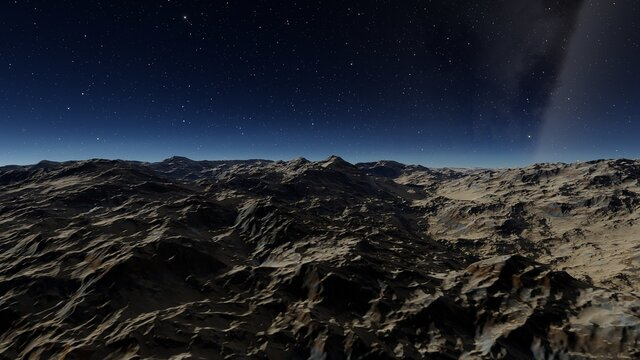 alien planet landscape, science fiction illustration, view from a beautiful planet, beautiful space background 3d render