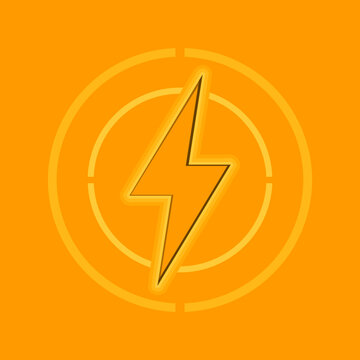 Yellow electricity bolt flat vector icon.