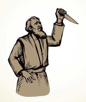 Abraham makes a sacrifice. Vector drawing