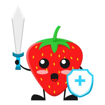 vector illustration of cute strawberry fruit medical or character fighting virus. cute strawberry fruit Concept White Isolated. Flat Cartoon Style Suitable for Landing Page, Banner, Flyer, Sticker.