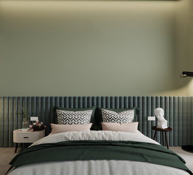 bedroom with a bed with pillows in front of the green wall, 3d render
