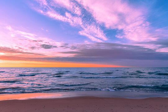 Sunset over Lake Michigan from Silver Beach in St. Joseph, Michigan
