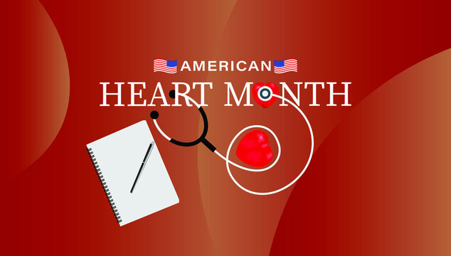 Vector illustration of February is American Heart Month. Template for background, banner