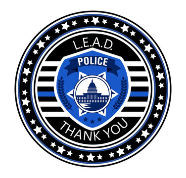 Law Enforcement Appreciation Day is celebrated in USA on January 9th each year. Police department badge, sheriff shield is shown. Flat vector with for flyer, web, banner, emblem