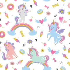 Childish seamless pattern with unicorns. Creative nursery background. Perfect for kids design, fabric, wrapping, wallpaper, textile, apparel
