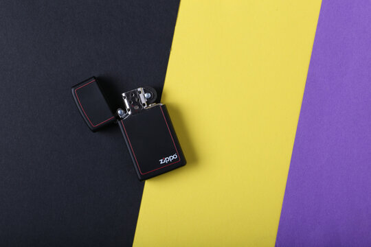 Jeddah Saudi Arabia December 26 2020: Zippo lighter on a colored background retro lighter