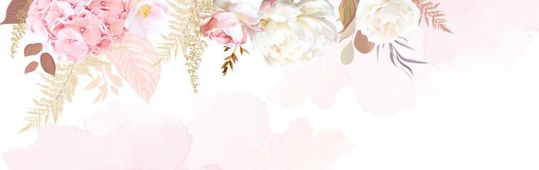 Fototapeta Luxurious beige trendy vector design watercolor banner frame obraz